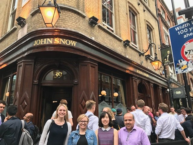 Dr. Thompson and UCL colleagues at John Snow Pub in London