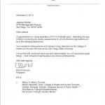 SDSU President Elliot Hirshman's letter congratulating Jessica Antonel
