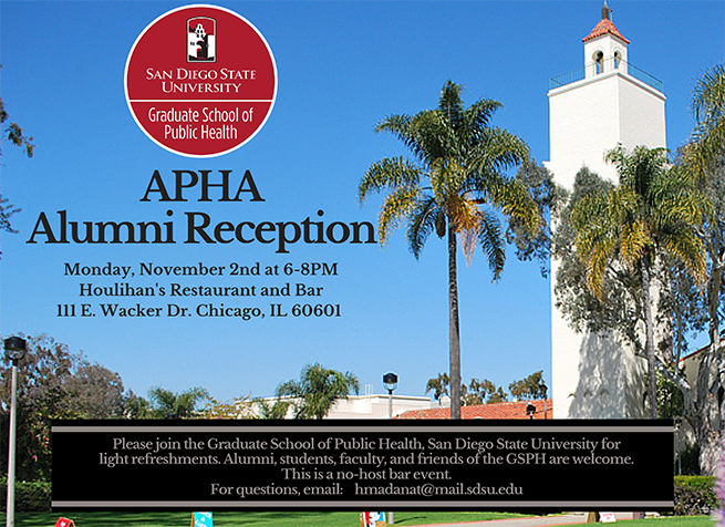 Join us in Chicago for the APHA Annual Meeting & Exposition (Oct. 31 to Nov. 4) and the Alumni Reception (Nov. 2)!