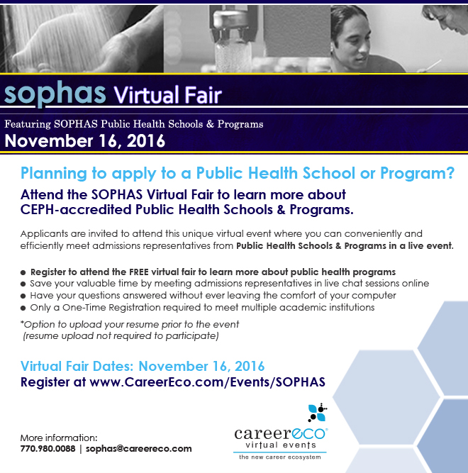 July 11, 2017 – SOPHAS Virtual Fair: Interact Live and Find Out Which Public Health School or Program is Right for You!
