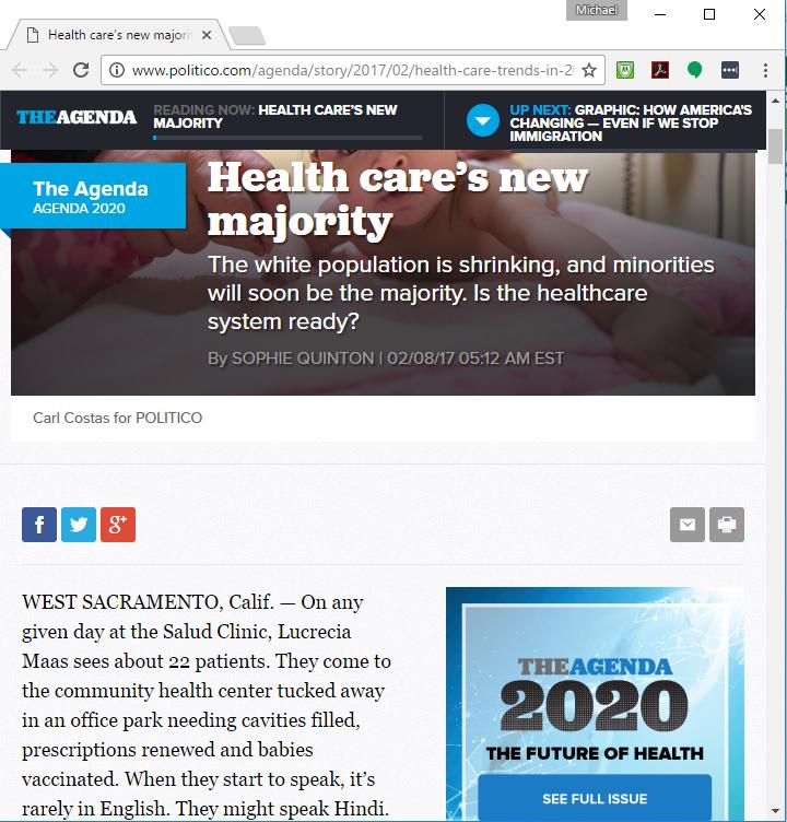 """Health Care's New Majority"" – Assistant Professor Melody Schiaffino Featured in Politico Article!"