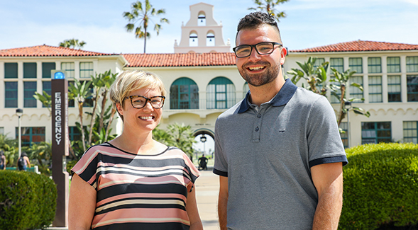 Asst. Prof. Caroline Thompson and graduate student Steven Zamora